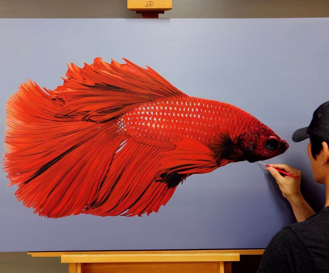 09-Siamese-fighting-fish-Young-sung-Kim-Realistic-Animal-Oil-Paintings-on-Canvas-www-designstack-co