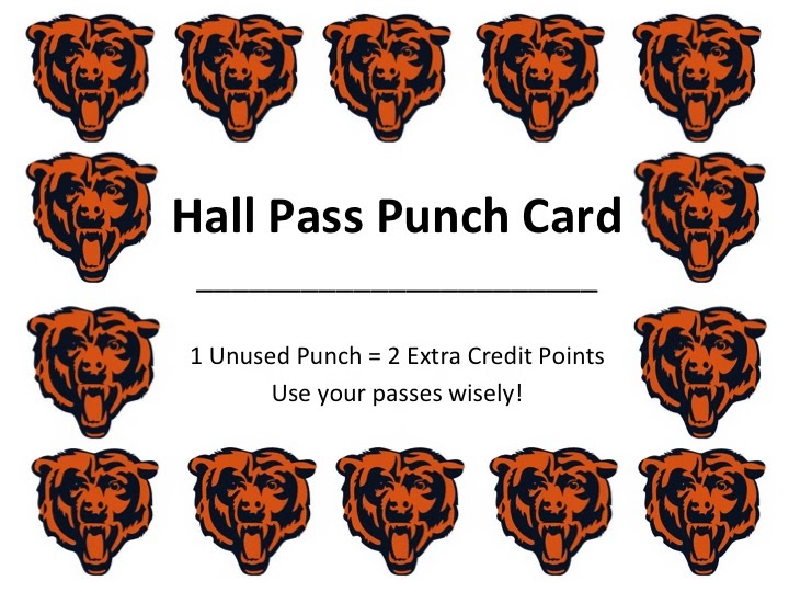 Miss Lifesaver Teacher Tip Tuesday Hall Pass Punch Card