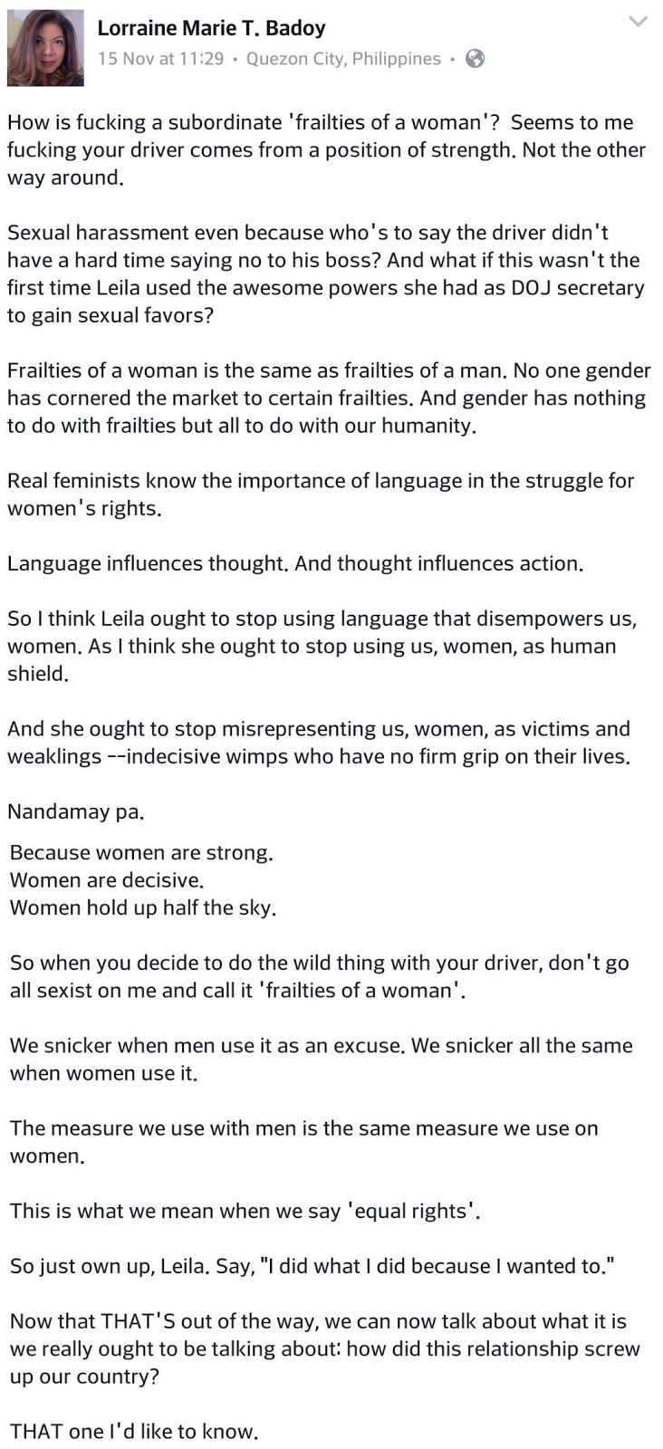 "Doctor and human rights advocate: Women are strong, De Lima ""nandamay pa"""