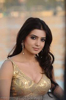 Samantha Ruth Prabhu in Stunning Golden Deep Neck Choli