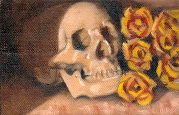 Oil painting of a plastic skull beside a bunch of plastic yellow roses.