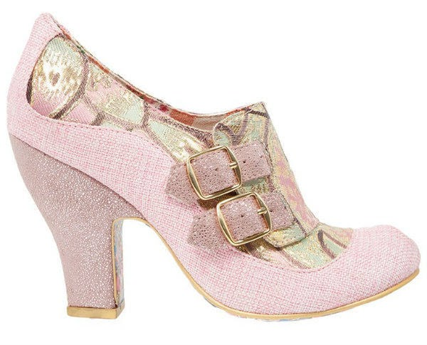 stock photo of pink Irregular Choice shoe from side