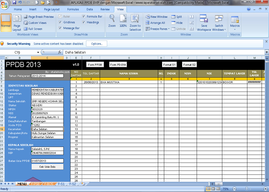 Software PPDB SMP Aplikasi Excel Free Download
