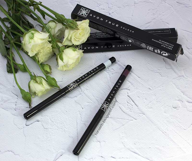 "Avon True color: Карандаш для глаз Glimmerstick Diamonds eyeliner ""Sugar Plum""& Карандаш для губ прозрачный Glimmerstick lip liner ""Clear"""