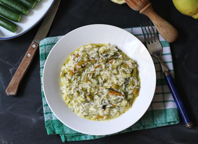 risotto con fiori di zucchina