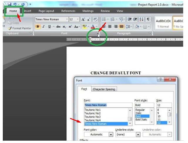 change-default-font-word