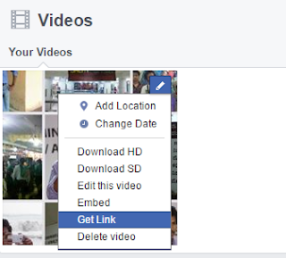 Facebook for embedded video get link