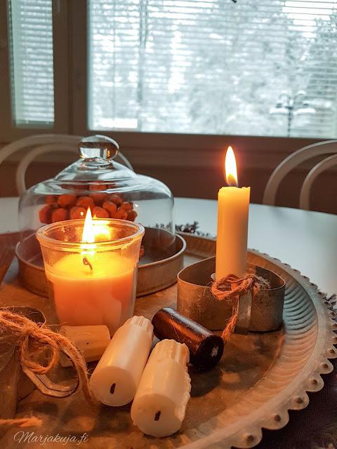 kynttilä, tuli keittiö tunnelma tammikuu talvi sinkki