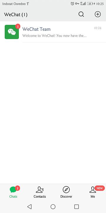 setelah berhasil membuat akun, pengguna bisa langsung menggunakan wechat untuk chatting