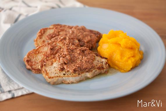 lomo de cerdo con salsa fácil de paté