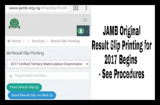 Image forJAMB Original Result Slip Printing for 2017 Begins