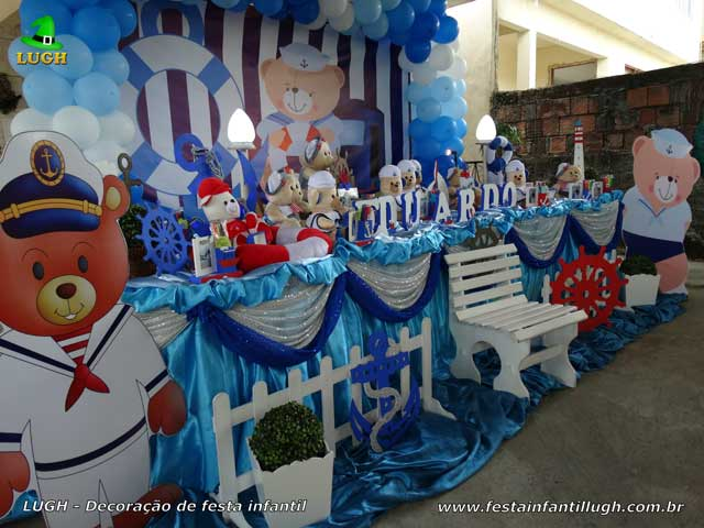 Decoração tema Ursinho Marinheiro para festa de aniversário infantil - Mesa tradicional luxo com toalhas de tecido - pano