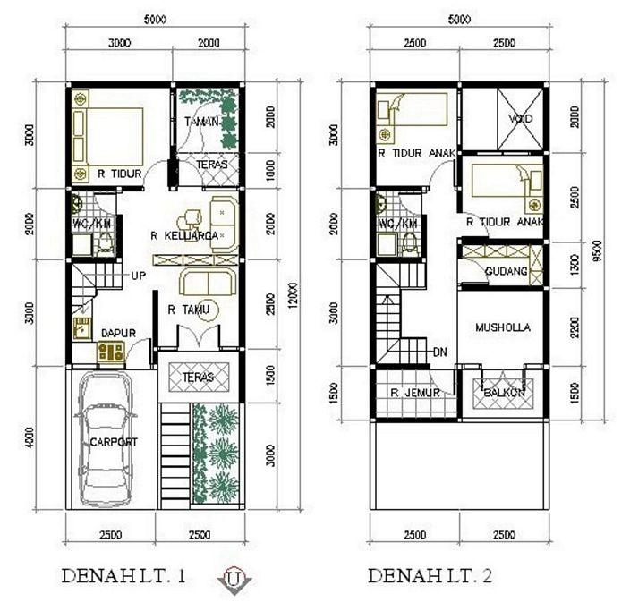 denah rumah sederhana 6x9 2 lantai yg terbaru
