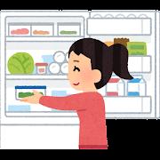 冷蔵庫に食品をしまう人のイラスト