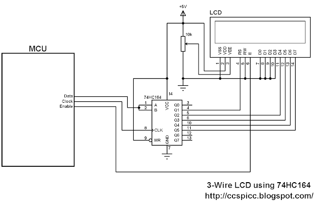 3-Wire LCD display circuit using 74HC164 shift register