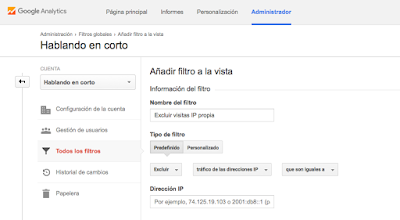 Excluir IP en Google Analytics