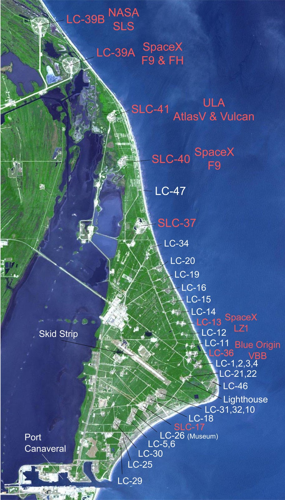 Cape Canaveral launch sites