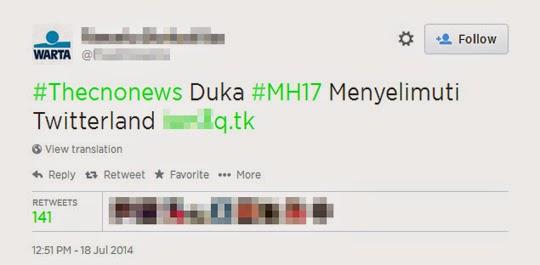 駭客攻擊鎖定馬航失事,在Twitter散播惡意連結