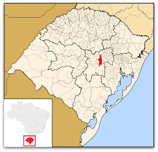Cidade de Santa Cruz do Sul, no mapa do Rio Grande do Sul