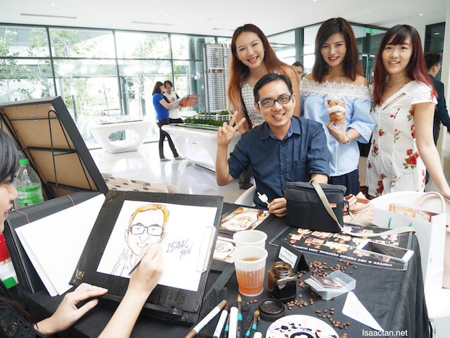 Getting my exclusive coffee caricature done by Vivian Lees Art, with other beautiful folks at Pantai Sentral Park's Good Coffee Day event