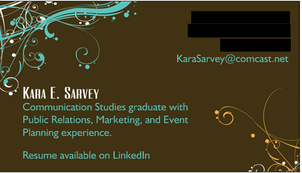 keeping up with kara  business cards for job seekers