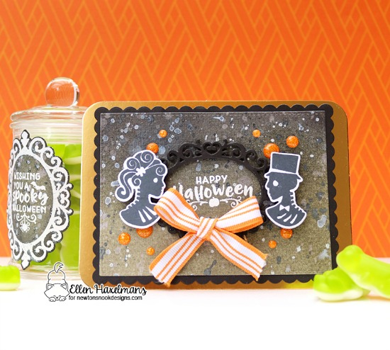 Halloween card  and Treat Container by Ellen Haxelmans | Creepy Cameos Halloween Stamp Set and Cameo Frame Die Set by Newton's Nook Designs #newtonsnook #handmade