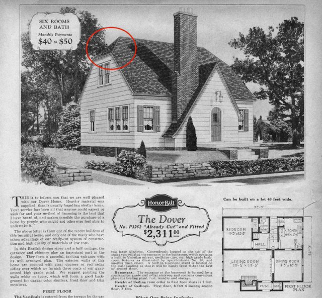 Sears Dover with straight slope on entry gable in 1929 catalog