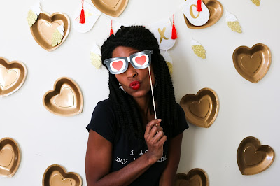 photobooth backdrop at a Simple Valentine's Day party, Valentine's Day playdate, or Galentine's Party!