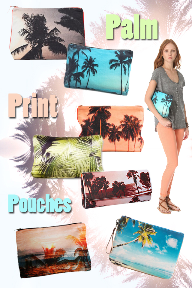tropical palm tree print pouches