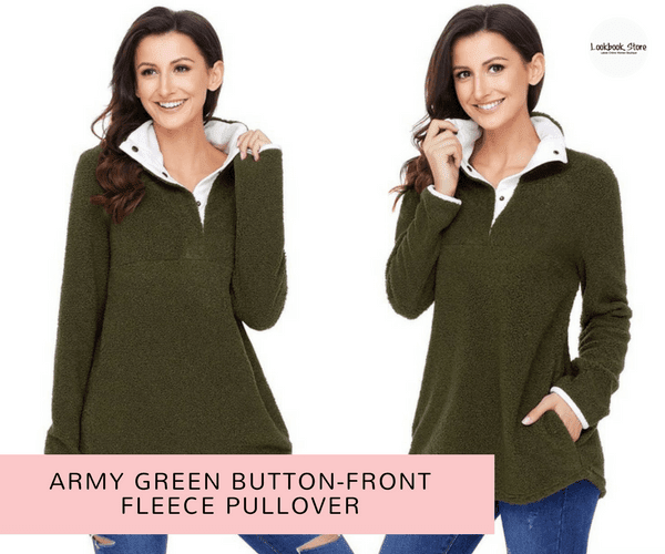 Army Green Button-Front Fleece Pullover | Lookbook Store