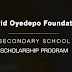David Oyedepo Foundation Secondary School Scholarship Form Out - 2018/2019