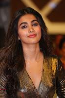 Pooja Hegde looks glamarous in deep neck sleevless short tight golden gown at Duvvada Jagannadham thank you meet function 146.JPG