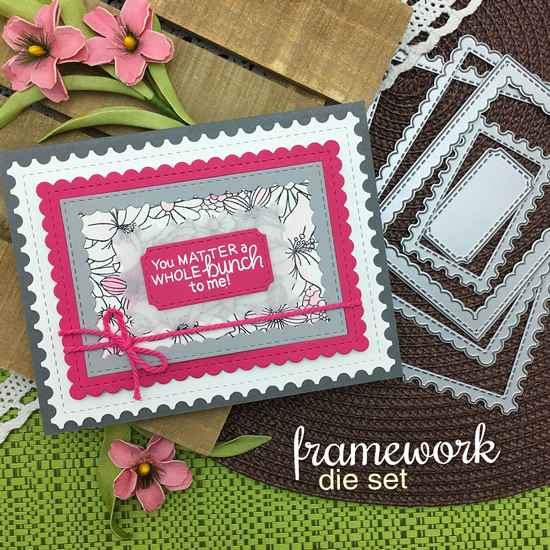 Floral Card by Jennifer Jackson | Blooming Botanicals Stamp Set + Framework Die Set by Newton's Nook Designs #newtonsnook