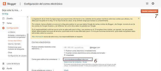 Pasos 6 y 7 para volver a recibir los comentarios de tu blog por mail sin moderación