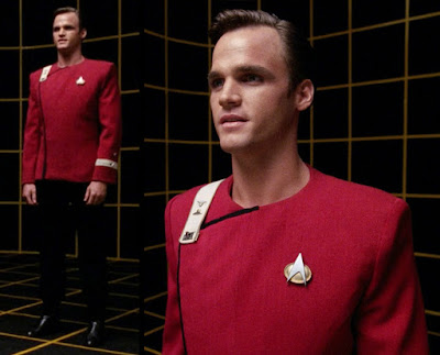 """TWOK-era """"Monster Maroon"""" uniform worn by Jack Crusher, Wesley Crusher's father"""