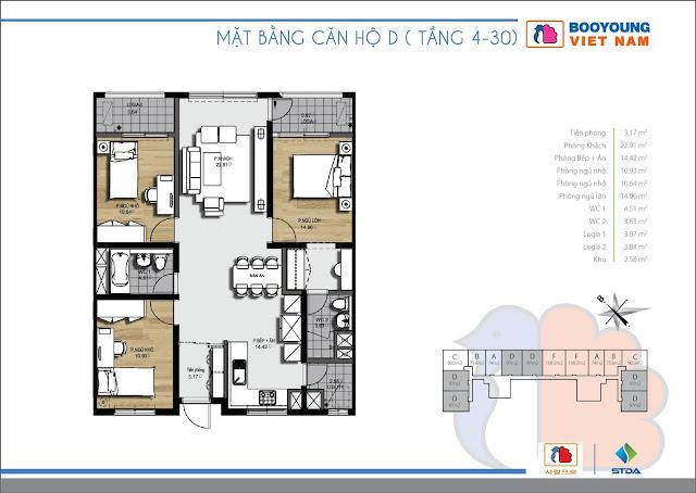 Căn hộ D ( 01 - 02 - 14 - 15 ) - 95,54m2 tòa CT-07