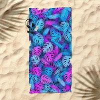 Пляжное полотенце с неоновыми тропическими листьями