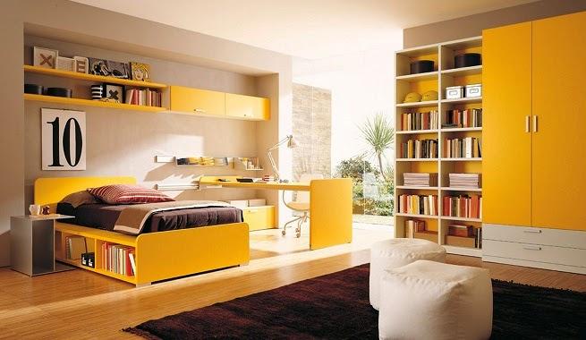 Dormitorio juvenil marrón amarillo