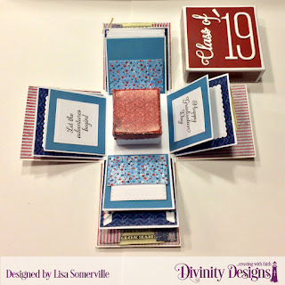 Divinity Designs Stamp Set: Dream Big, Custom Dies: Long & Lean Numbers, Long & Lean Letters, Grad, Pierced Squares, Squares, Scalloped Squares, Double Stitched Squares, Explosion Box, Explosion Box Pockets & Layers, Mini Box, Paper Collections: Old Glory, Patriotic