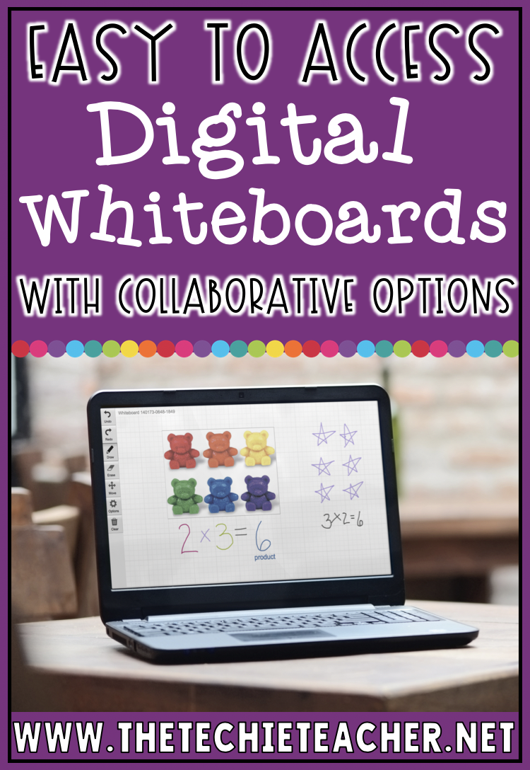 Easy to Access Digital Whiteboards with Collaborative Options for Elementary Students. These can be used on Chromebooks, laptops and computers.