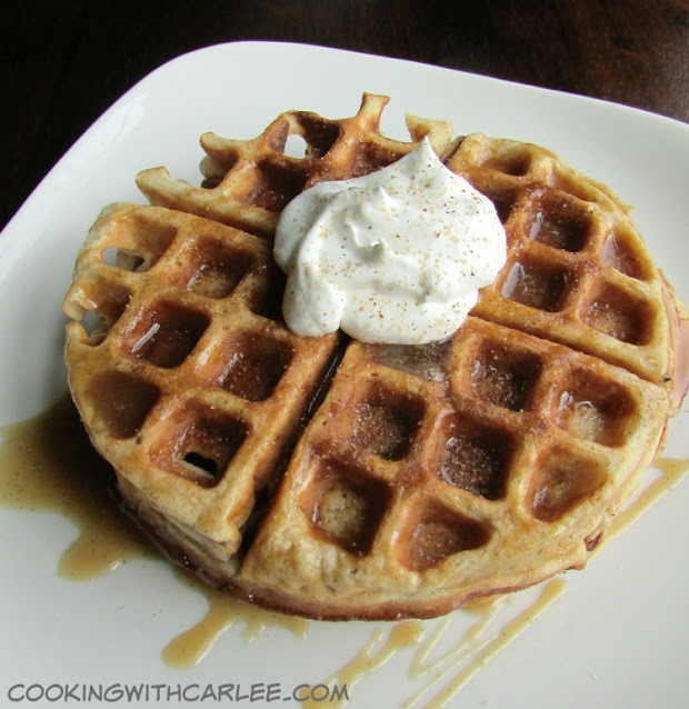 waffles drizzled with apple cider caramel, cinnamon and whipped cream