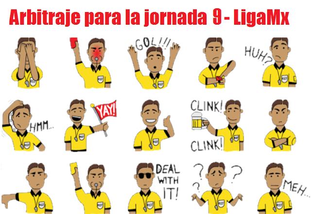 Arbitraje para la jornada 9 del futbol mexicano