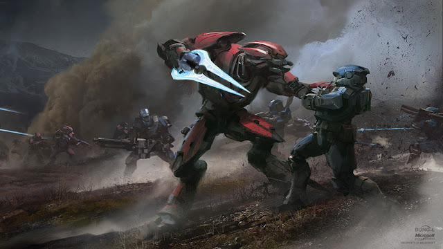 halo elite killing soldier concept art polished