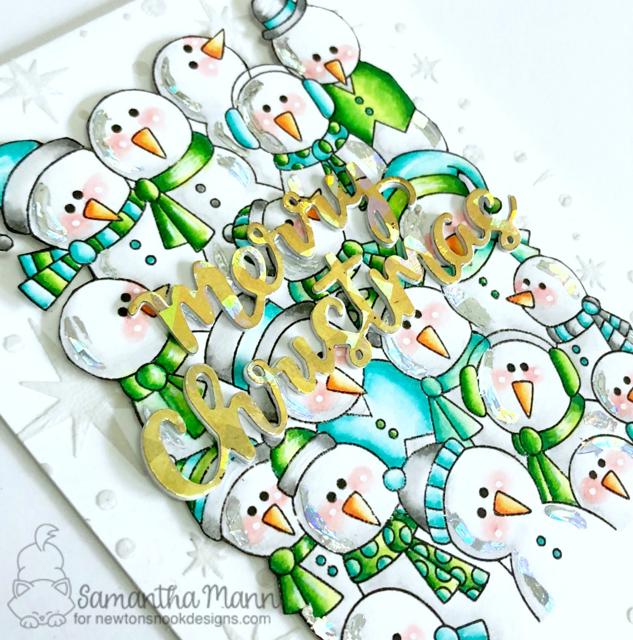 Newton's Nook Designs & Therm O Web Inspiration Week | Sparkly Snowmen Card by Samantha Mann | Frozen Fellowship Stamp Set, Holiday Greetings Die Set and Starfield Stencil by Newton's Nook Designs | Foils by Therm O Web #newtonsnook #thermoweb