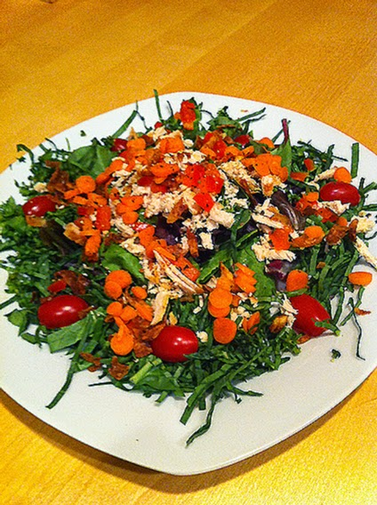 Summer Salad Plate with mixed greens and chiffonade spinach