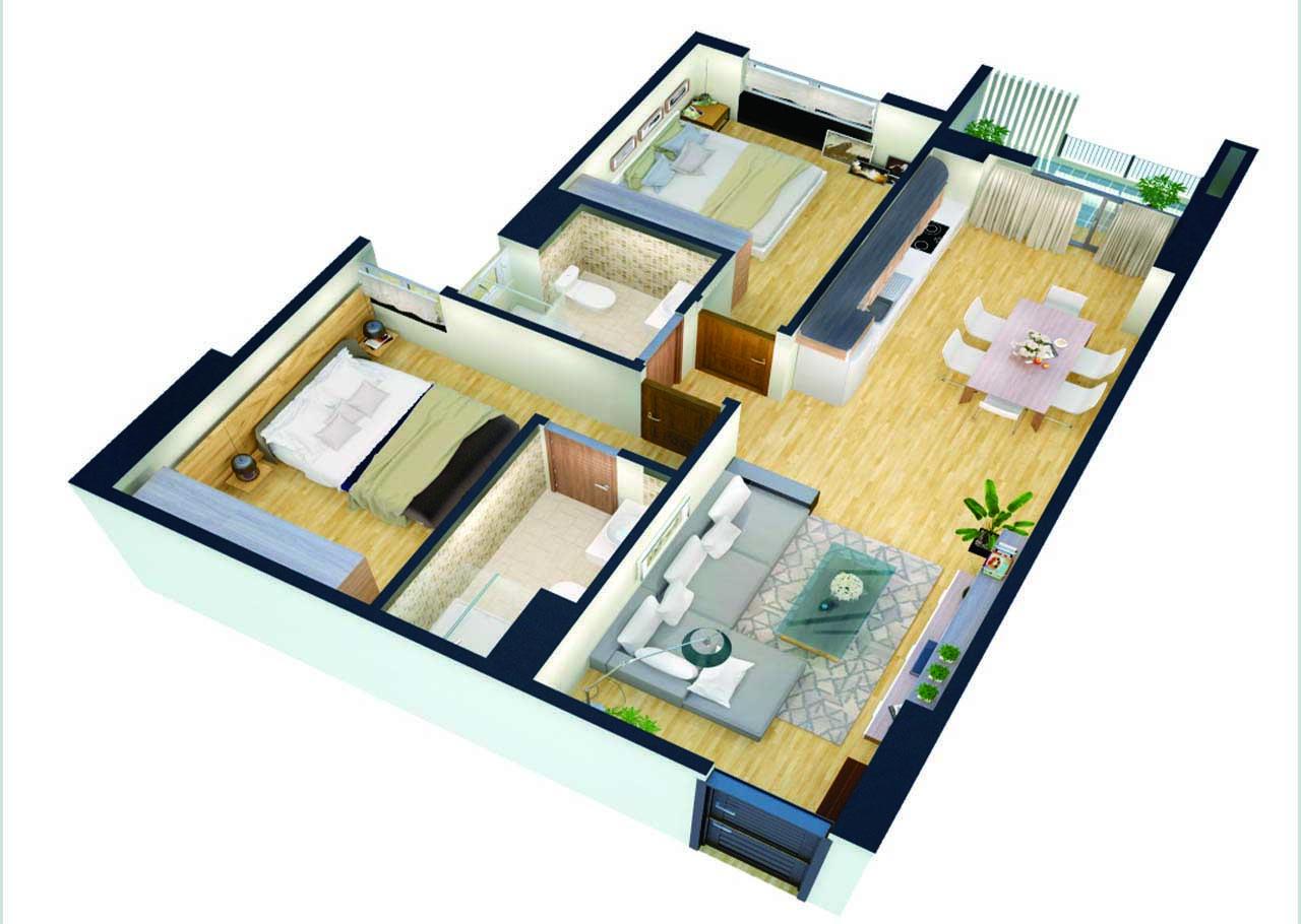 Thiết kế căn hộ 64m2 Chung cư Sky Central