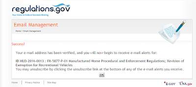 Prompt by regulations.gov when you sign up for email alerts