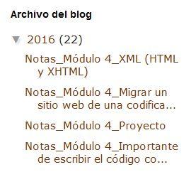 Widget Archivo del blog estilo jerarquía en Blogger sin mes ni día