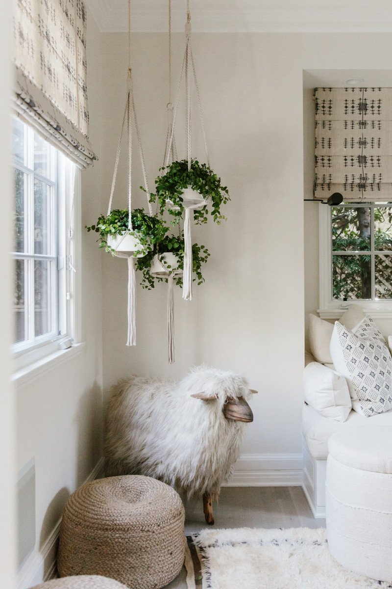 California modern farmhouse decor with hanging plants in Erin Fetherston home