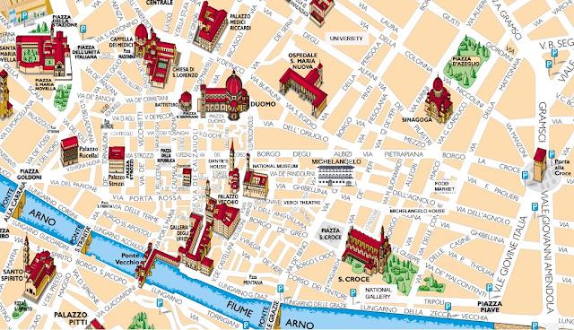 Mapa dos pontos turísticos de Florença
